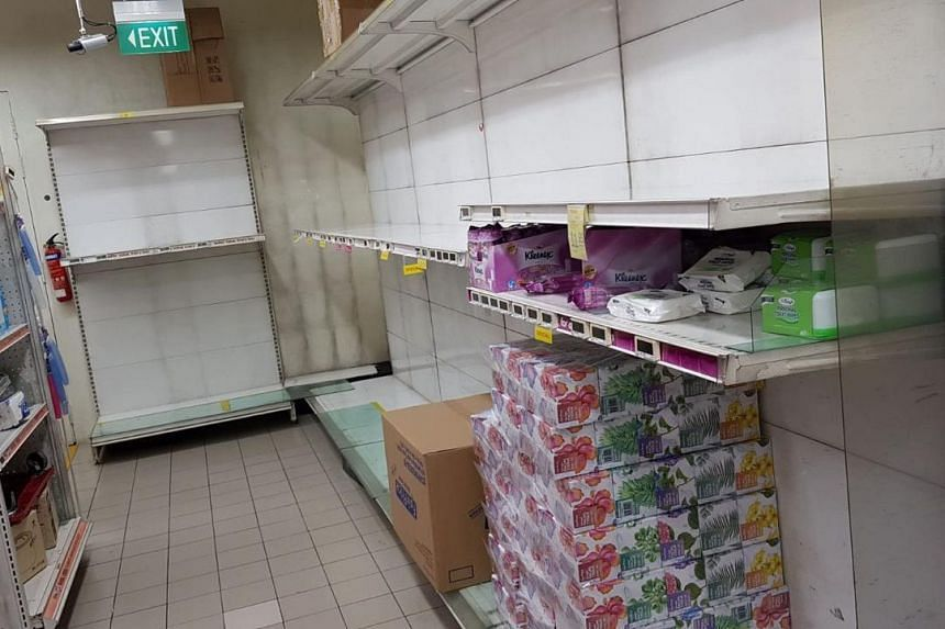 Shelves of paper products at the FairPrice outlet in White Sands Shopping Centre in Pasir Ris on Feb 8, 2020.