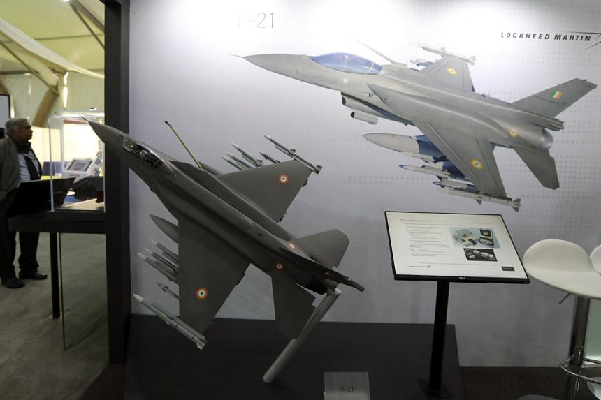 A model of the Lockheed Martin Corp. F-21 fighter jet during the DefExpo 20 in Lucknow, India, on Feb. 6, 2020.