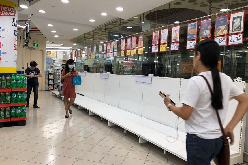 An empty shelf of rice at the FairPrice outlet at Eastpoint Mall in Simei on Feb 8, 2020.