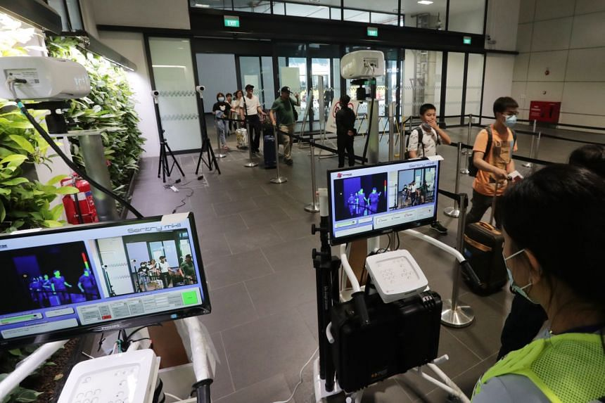 Thermal scanners at the Tuas Checkpoint. Singapore moved to code orange on Feb 7 and new measures include cancelling large-scale events if possible.