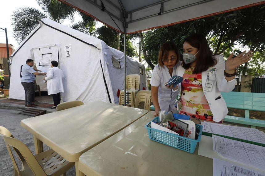 An isolation tent for patients with symptoms that could be investigated for coronavirus, at the Quezon City General Hospital in the Philippines.