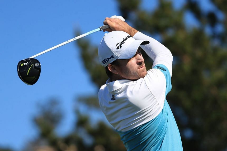 Nick Taylor plays his shot from the ninth tee during the second round of the US PGA Tour Pebble Beach Pro-Am event on Feb 7, 2020.
