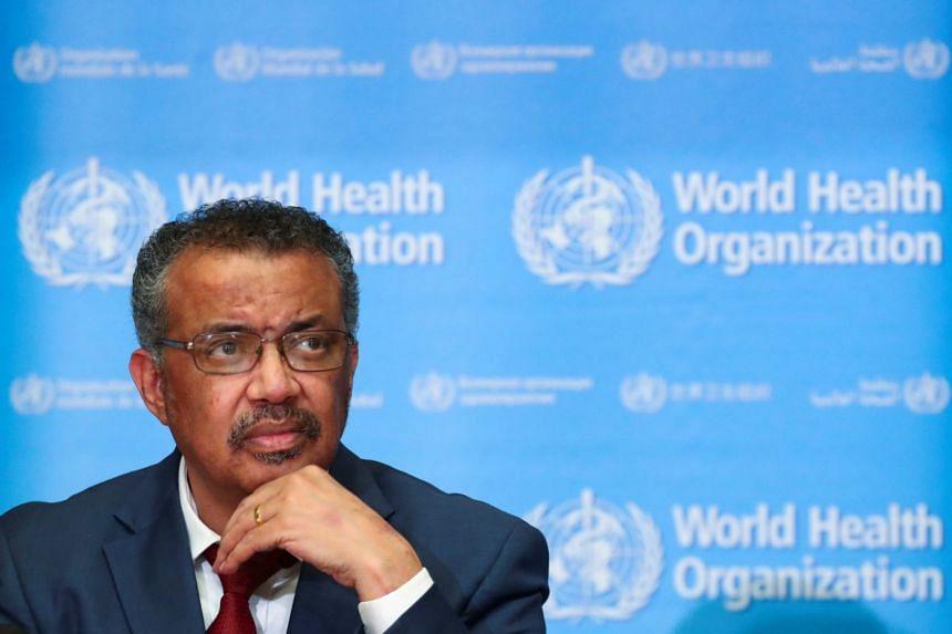 WHO chief Tedros Adhanom Ghebreyesus attends a news conference on the coronavirus in Geneva, Switzerland.