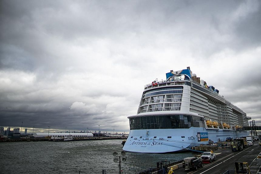 A coronavirus screening delayed the departure of the Anthem of the Seas docked at Cape Liberty port in Bayonne, New Jersey, on Friday. PHOTO: AGENCE FRANCE-PRESSE