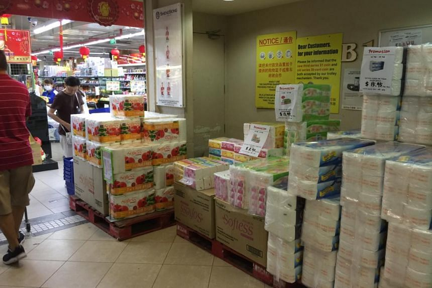 Stocks of toilet paper and other paper products seen at the Sheng Siong outlet in Upper Thomson's Imperial Court, on Feb 9, 2020.