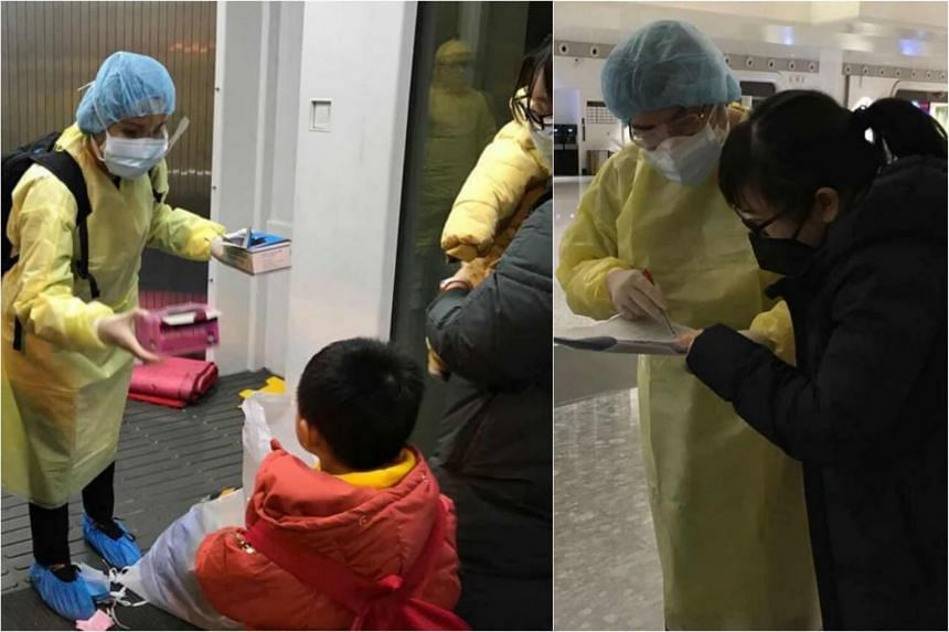 Ministry of Foreign Affairs staff handed out masks and assist returning Singaporeans and their family members before they board the flight home at Wuhan Tianhe International Airport.