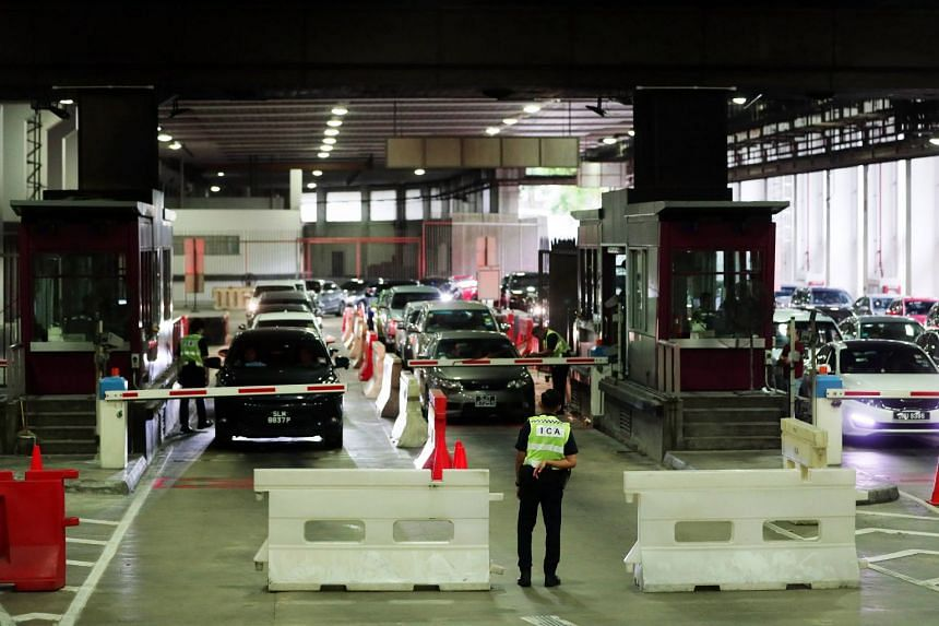 Vehicles clearing customs at the Woodlands Checkpoint, on April 12, 2019.