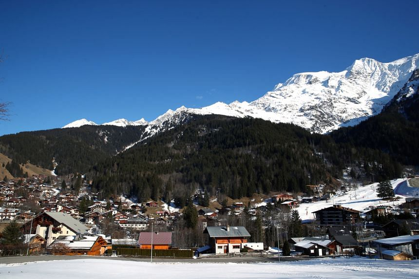 A general view shows the French Alpine resort of Les Contamines-Montjoie, France, where five British nationals including a child have been diagnosed with the coronavirus, after staying in the same ski chalet with a person who had been in Singapore on