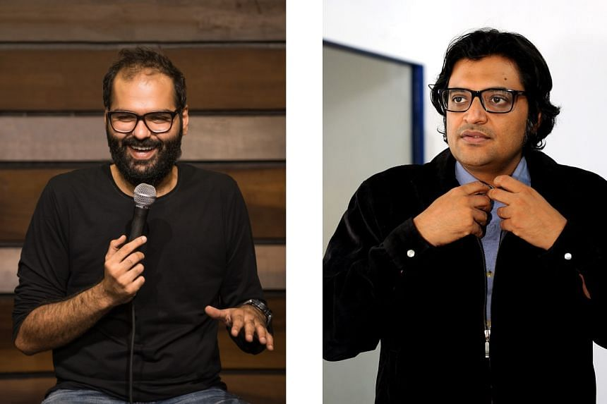 Comedian Kunal Kamra (left), a known critic of the government, has been banned by four Indian airlines for accosting TV news anchor Arnab Goswami on an IndiGo flight on Jan 28. Mr Goswami's polemical shows are a platform for launching a wave of inv