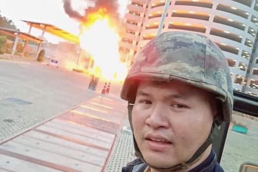 The shooter, identified as Sergeant-Major Jakrapanth Thomma, posted a Facebook clip of himself in front of a building on fire during the attack.