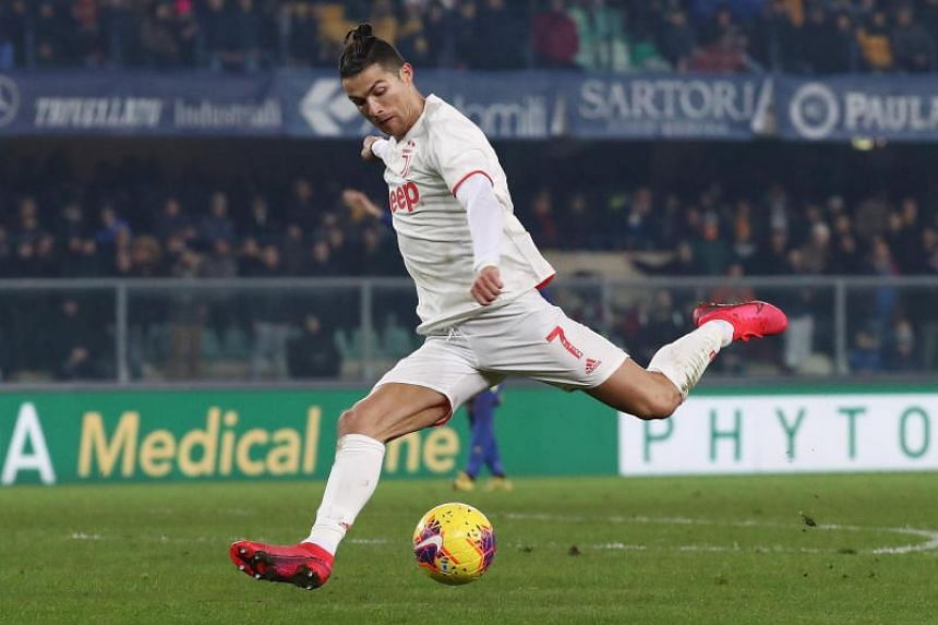 Juventus' Cristiano Ronaldo attacking against Hellas Verona during their Serie A match on Feb 8, 2020.