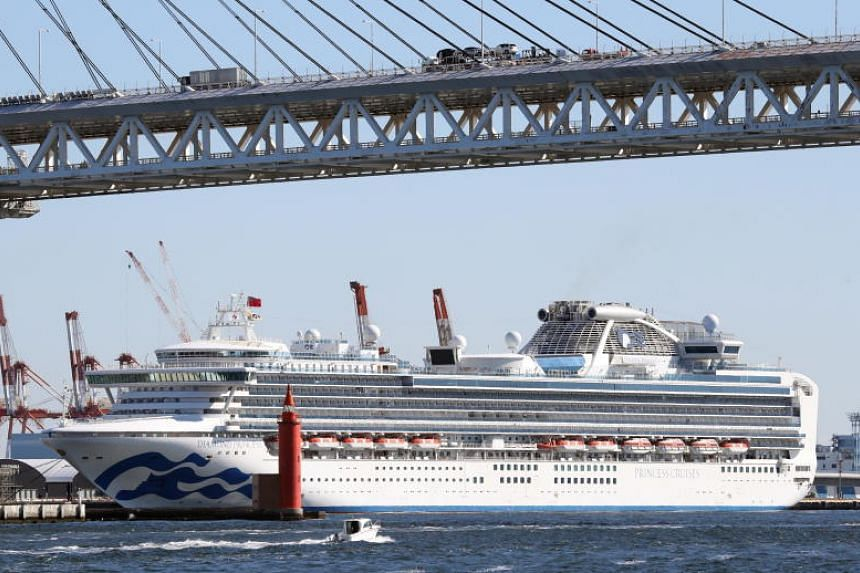 The Diamond Princess cruise ship, which is currently docked at the Daikoku Pier Cruise Terminal in Yokohama. Six more people on board the ship were confirmed to have the coronavirus.
