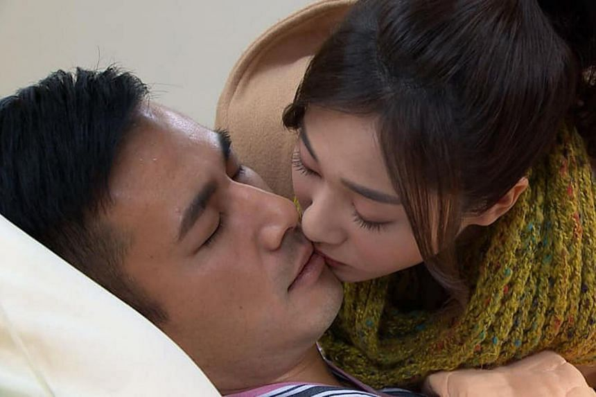 Taiwanese actors Mia Chiu and Jun Fu sharing a kiss in a scene in TV serial Golden City. The kiss was originally supposed to be much longer.