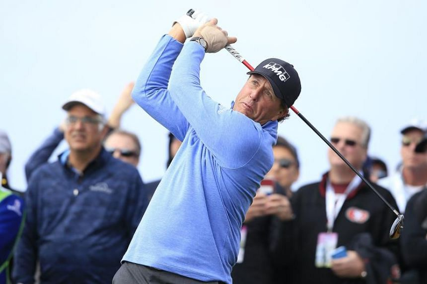 Phil Mickelson hitting a shot from the ninth tee during the AT&T Pebble Beach Pro-Am on Feb 8, 2020.