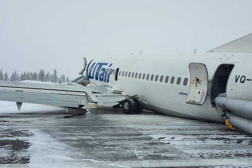 A view shows the UTair Airlines Boeing 737 passenger plane following a hard landing at Usinsk airport, Komi Republic, Russia, on Feb 9, 2020.