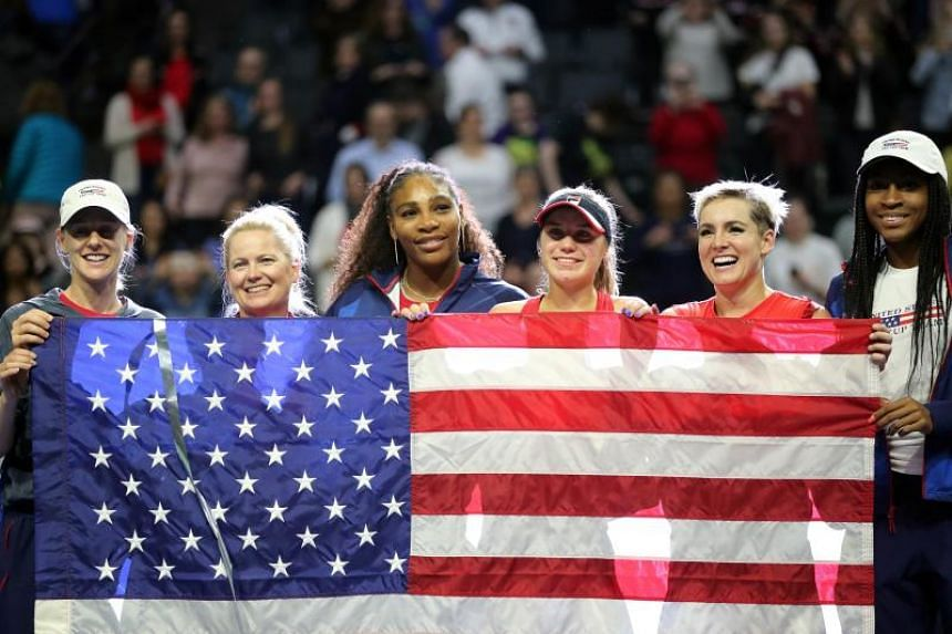 (From left) Alison Riske, Kathy Rinaldi, Serena Williams, Sofia Kenin, Bethanie Mattek-Sands and Coco Gauff posing after they defeated Team Latvia in the 2020 Fed Cup qualifier on Feb 8, 2020.