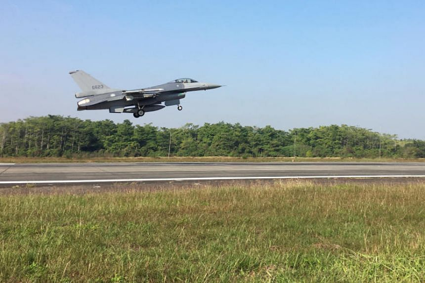 A Taiwan Air Force F-16 V taking off from Chiayi Airbase. Taiwan said its air force scrambled to intercept Chinese jets on Feb 9, 2020.
