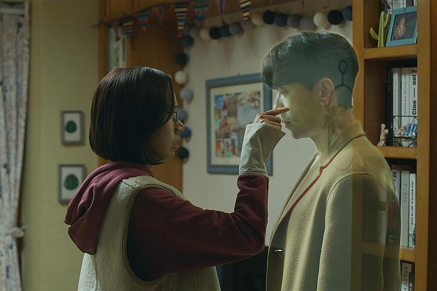 Yoon Hyun-min plays double roles as holographic companion Holo (left) and its creator Go Nan-do, who falls for a woman (played by Ko Sung-hee, far left) who is unable to recognise faces.