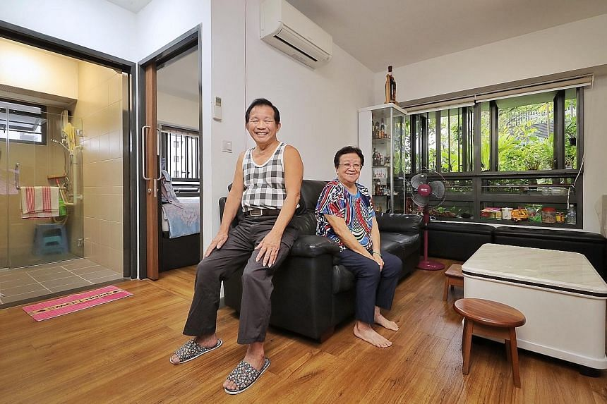 Mr Foo See Yin with his wife, Madam Low Choon Moi, in their two-room flexi flat in Kampung Admiralty. They sold their four-room flat in Khatib before moving into their current home in 2017.