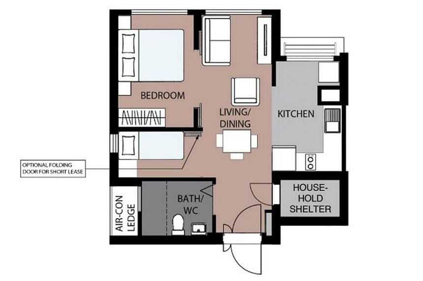 The layout of a two-room flexi flat with flexible space. Senior buyers can opt for a folding partition separating the living room and bedroom.