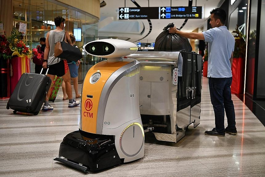 An autonomous robot that can tow garbage bins at Jewel Changi Airport. In recent years, research and development incentives have helped drive the adoption of cutting-edge technologies and innovative business models, tools and applications to engage w