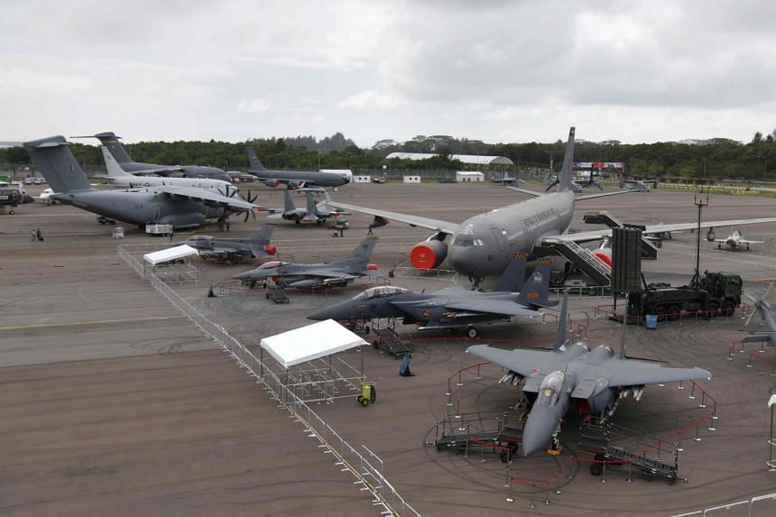 Military aircraft on display during a media preview day ahead of the Singapore Airshow, on Feb 9, 2020.