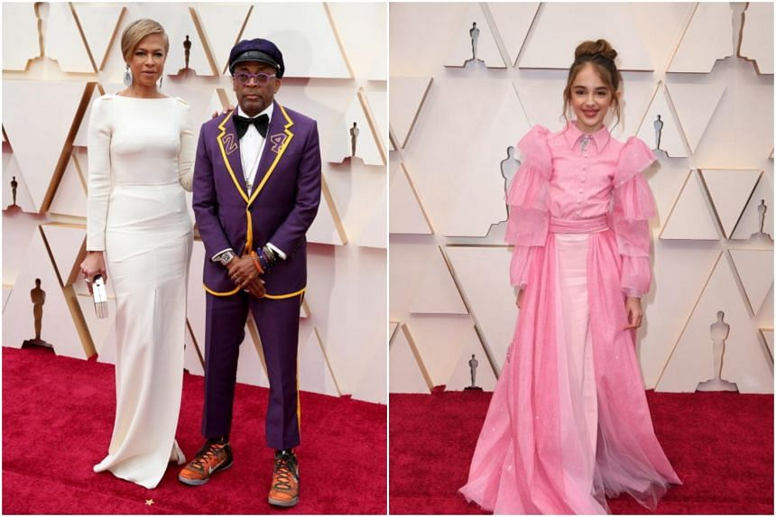 (From left) Producer Tonya Lewis Lee, director Spike Lee and actress Julia Butters at the 92nd Oscars at the Dolby Theatre in Hollywood on Feb 9, 2020.