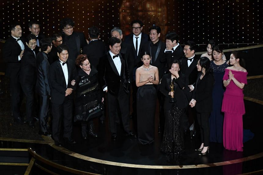 The cast and crew of Parasite accepting the award for Best Picture during the 92nd Oscars in Hollywood on Feb 9, 2020.