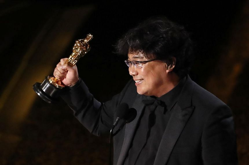 Director Bong Joon Ho celebrates at the 92nd Academy Awards in Hollywood on Feb 9, 2020.