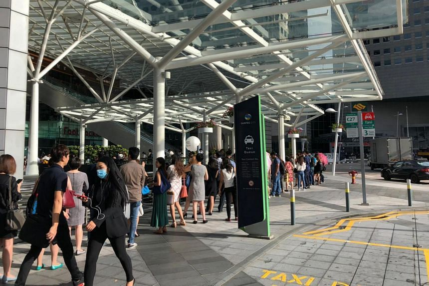The queue to enter Suntec City Tower 5 on Feb 10, 2020.