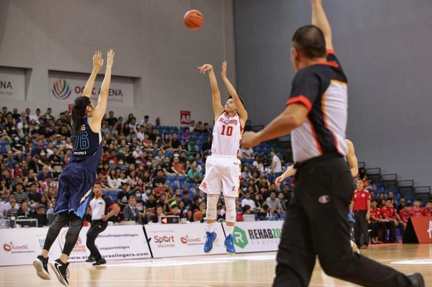 Singapore Slingers' Leon Kwek shooting a three-pointer during the Asean Basketball League match against Taipei Fubon Braves at OCBC Arena on Feb 9, 2020.