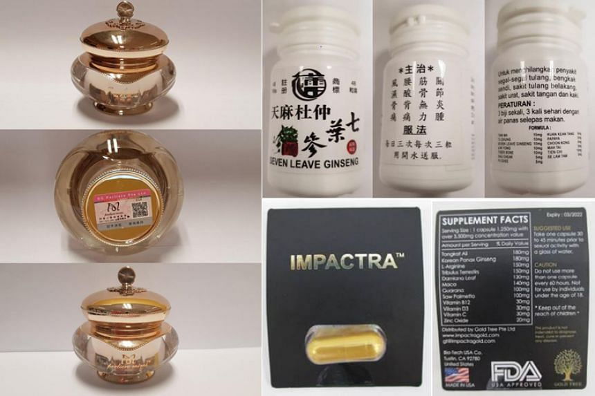 The Health Sciences Authority has warned the public to avoid buying or consuming (clockwise from left) Perliere Mimi Pearl Cream, Tian Ma Tu Chung Seven Leave Ginseng and Impactra.