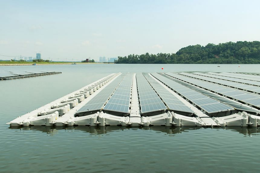 The floating solar photovoltaic testbed at Tengeh Reservoir.
