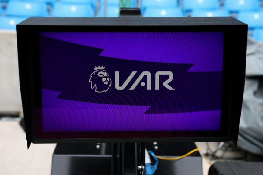 A photo taken on Aug 27, 2019, shows a view of a VAR monitor pitchside before the English Premier League football match between Manchester City and Tottenham Hotspur.