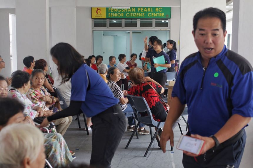 Staff from Innotrek and Future Ready teaching senior citizens good hygiene practices at 104 Bedok North Street 4 on Feb 10, 2020.