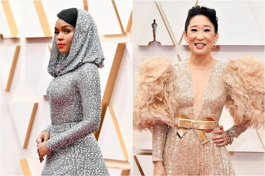 Singer Janelle Monae (left) shone in her bold extraterrestrial Ralph Lauren get-up while actress Sandra Oh took a misstep with over-the-top tulle and feathery puffed sleeves.