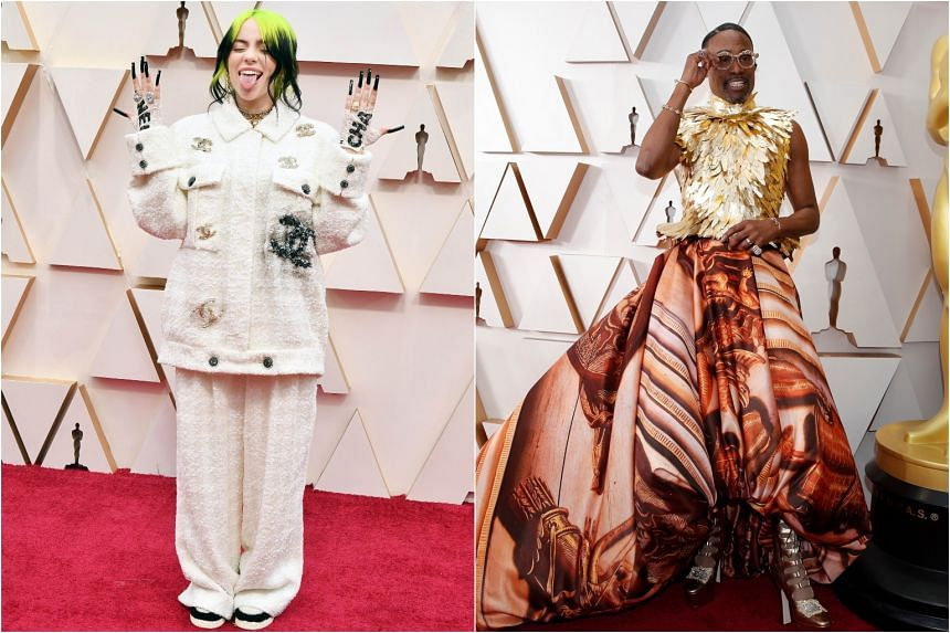 Billie Eilish and Billy Porter (right) during the Oscars arrivals at the 92nd Academy Awards in Hollywood on Feb 9, 2020.