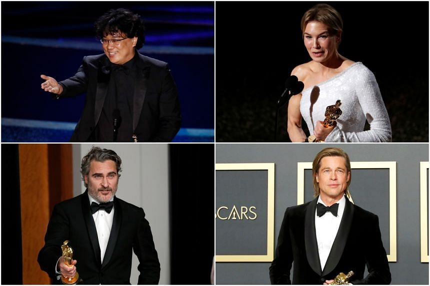 (Clockwise, from top left) Director Bong Joon-ho, actress Renee Zellweger and actors Brad Pitt and Joaquin Phoenix.