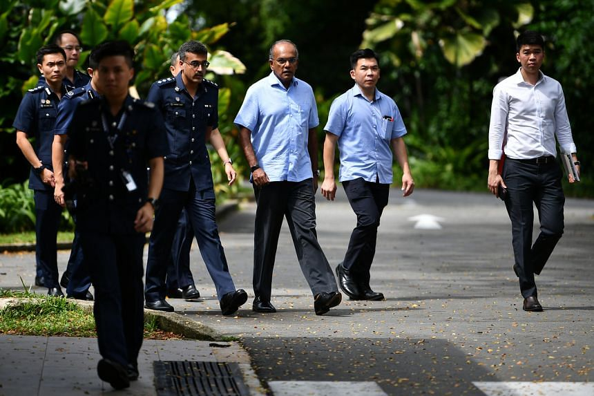 Home Affairs and Law Minister K. Shanmugam during a visit to Civil Service Club @ Changi II, a chalet which has been designated a government quarantine facility, on Feb 10, 2020.