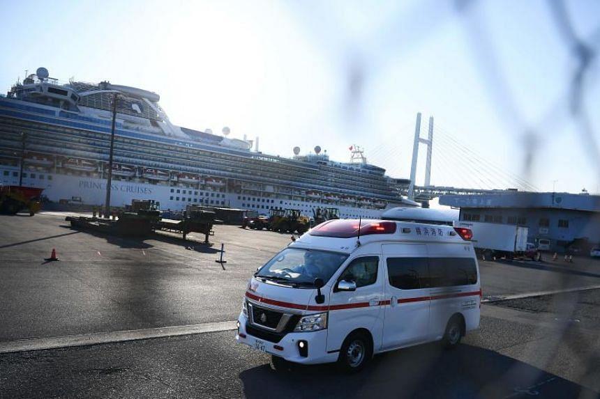 The Diamond Princess cruise ship at the Daikoku Pier Cruise Terminal in Yokohama port on Feb 10, 2020.