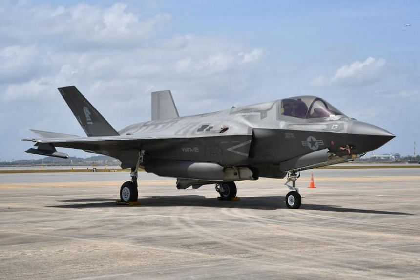 A US F-35B fighter jet which will feature in the upcoming Singapore Airshow, at Changi Air Base on Feb 7, 2020.