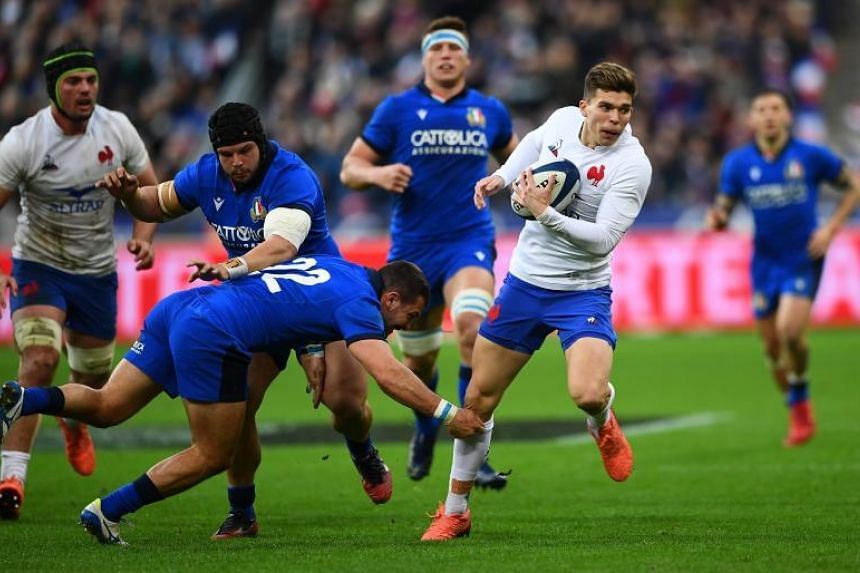 France's Les Bleus achieved a 35-22 win against Italy at the Stade de France in Saint-Denis, north of Paris, on Feb 9, 2020.