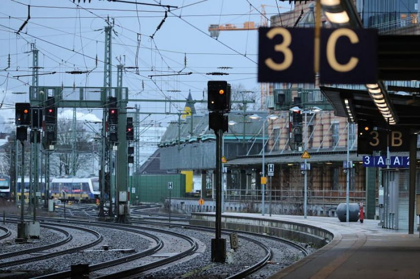 Empty platforms at the central station after a storm in Bremen, northern Germany, on Feb 10, 2020.