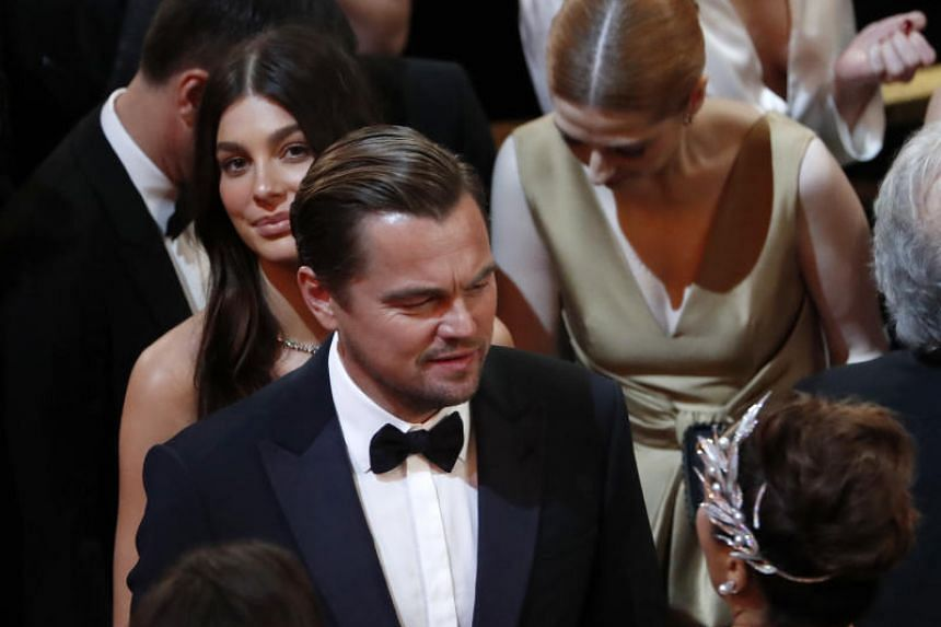 Leonardo DiCaprio and Camila Morrone are seen at the 92nd Academy Awards in Hollywood on Feb 9, 2020.
