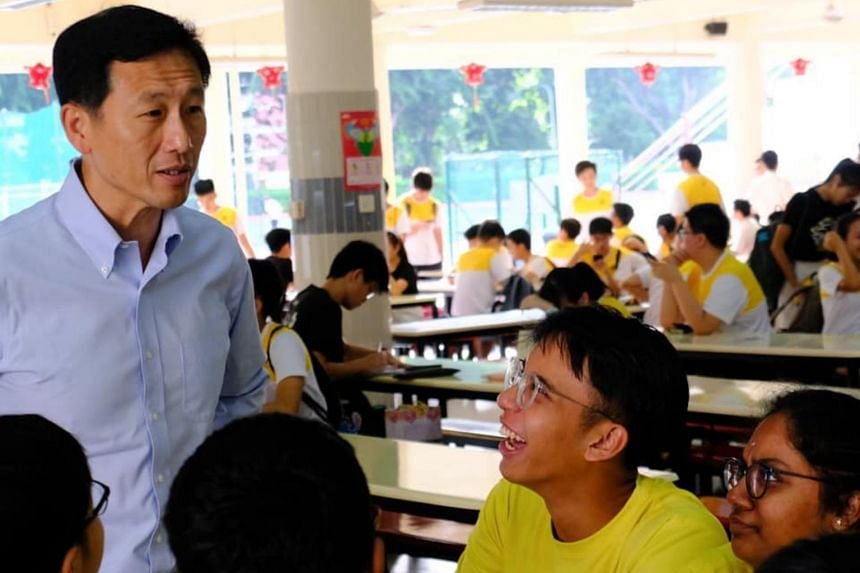 Education Minister Ong Ye Kung during a visit to Victoria Junior College on Feb 10, 2020.