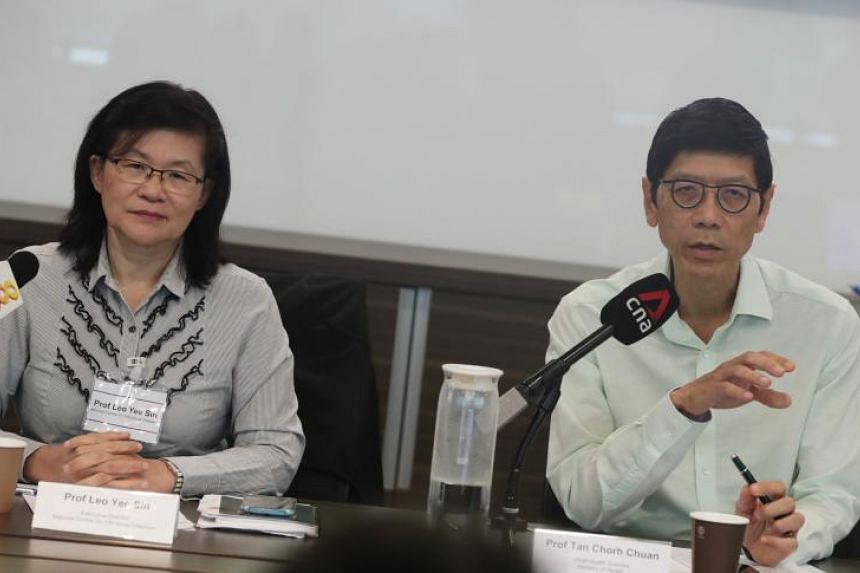 Professor Leo Yee Sin (left), executive director of the National Centre for Infectious Diseases, and Professor Tan Chorh Chuan, chief health scientist at the Ministry of Health, during a press conference on Feb 10, 2020.