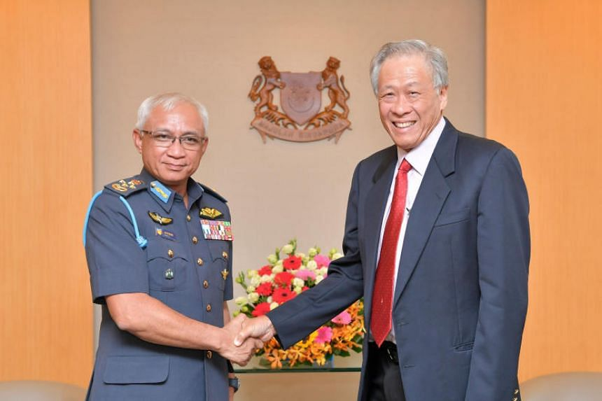 General Tan Sri Affendi Buang, the new chief of Malaysian Armed Forces, called on Singapore's Minister for Defence Ng Eng Hen at the Ministry of Defence on Feb 10, 2020.