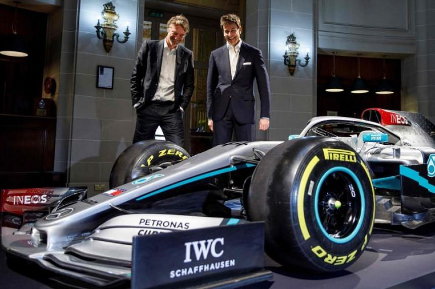 Mercedes Formula 1 boss Toto Wolff and Ineos Chairman Jim Ratcliffe are seen at a media event unveiling the team's new livery at the Royal Automobile Club in London on Feb 10, 2020.