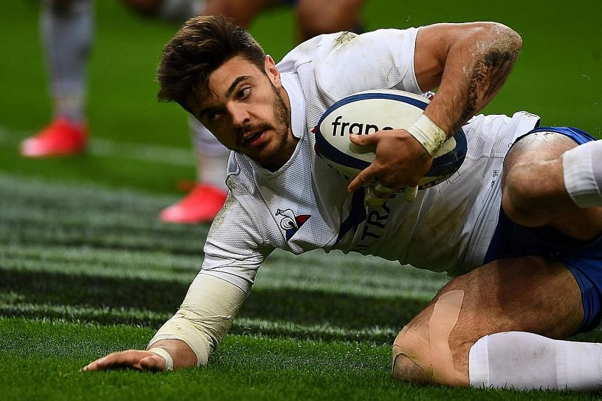 Fly-half Romain Ntamack putting France comfortably ahead 28-10 in the second half of their Six Nations rugby match against Italy at the Stade de France on Sunday. But the visitors stormed back before losing 35-22. France lead Ireland on points differ
