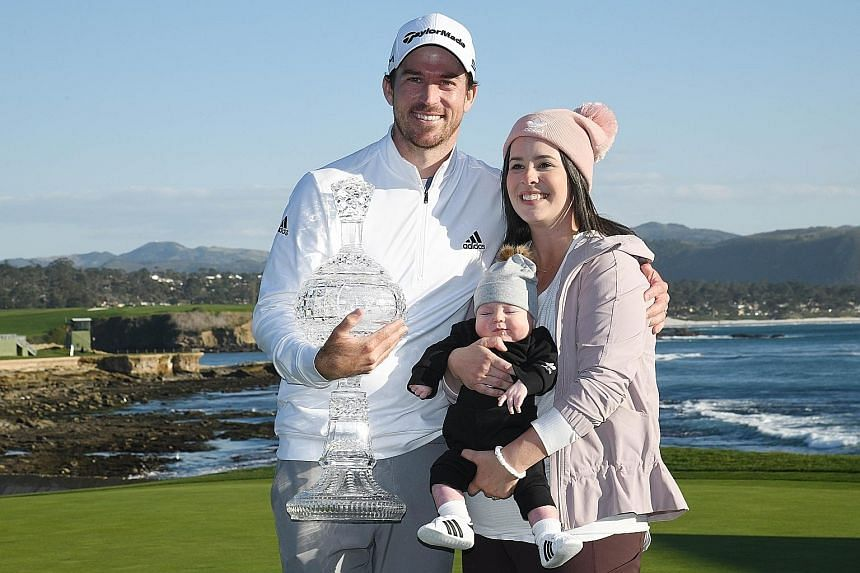 A happy family as Canadian Nick Taylor is joined by wife Andie and three-month-old son Charlie after winning the AT&T Pebble Beach Pro-Am in California on Sunday. Capturing his second PGA Tour title has earned him an invitation to the Masters at Augu